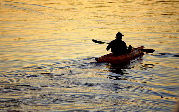 Photograph - Kayaker At Sunset by AJ  Schibig