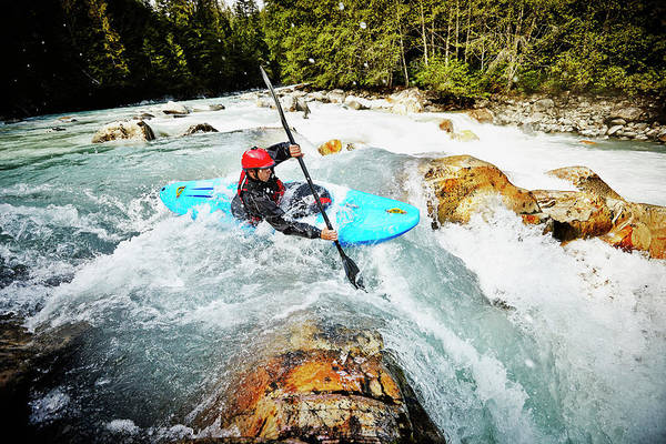 Water Sport Photograph - Kayaker Entering White Water Rapids by Thomas Barwick
