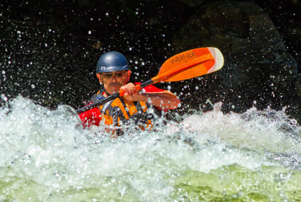 Photograph - Kayaker In Rough Water by Les Palenik
