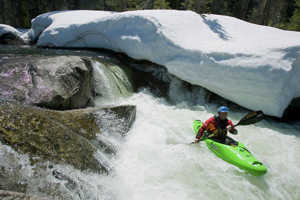 Yuba River Photograph - Kayaker Paddling Away From A Small by Trevor Clark