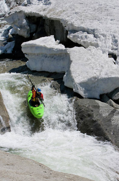 Yuba River Photograph - Kayaker Sliding Down A Small Waterfall by Trevor Clark