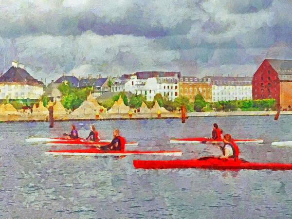 Digital Art - Kayakers In Copenhagen by Digital Photographic Arts