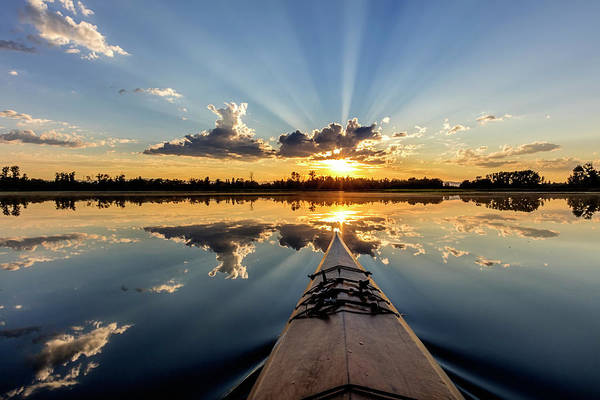 Wall Art - Photograph - Kayaking Into Sunset Rays On Mcwennger by Chuck Haney