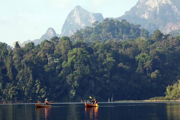 Kayaking On Cheow Larn Lake Art Print