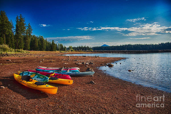 Painting - Kayaking On Howard Prairie Lake In Oregon by Omaste Witkowski