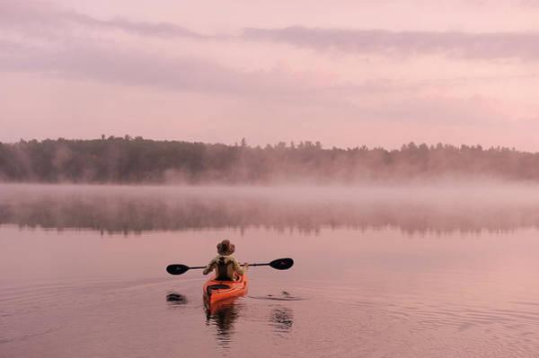 Highland Light Photograph - Kayaking On Starrett Lake At Sunrise by Christian Heeb