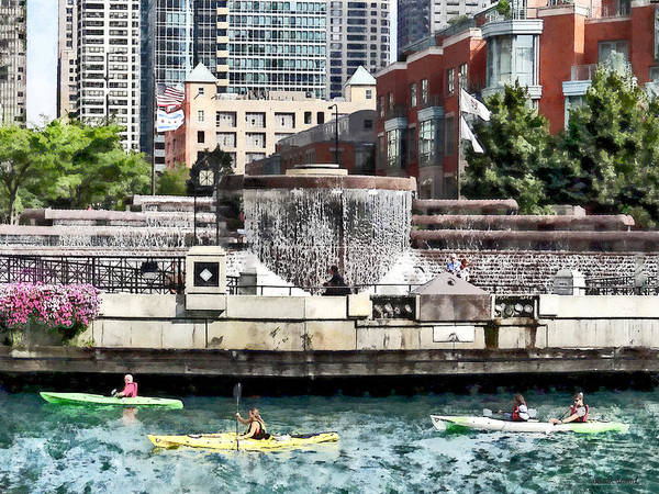 Photograph - Kayaking On The Chicago River Near Centennial Fountain by Susan Savad
