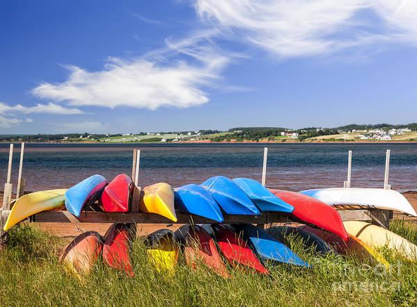 Atlantic Canada Wall Art - Photograph - Kayaks At Atlantic Shore  by Elena Elisseeva