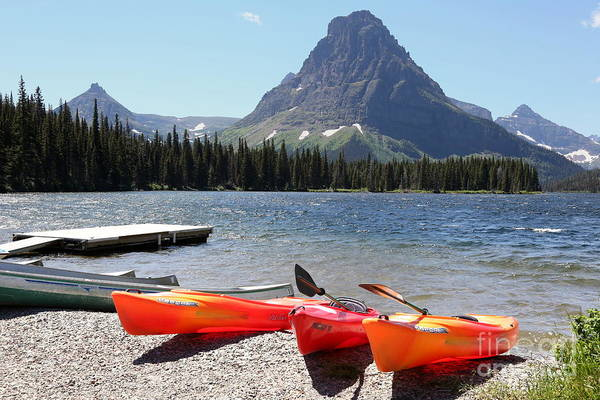 Photograph - Kayaks At Lower Two Medicine Lake by Carol Groenen