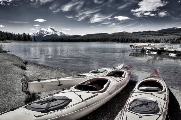 Photograph - Kayaks At Maligne Lake - Black And White by Stuart Litoff