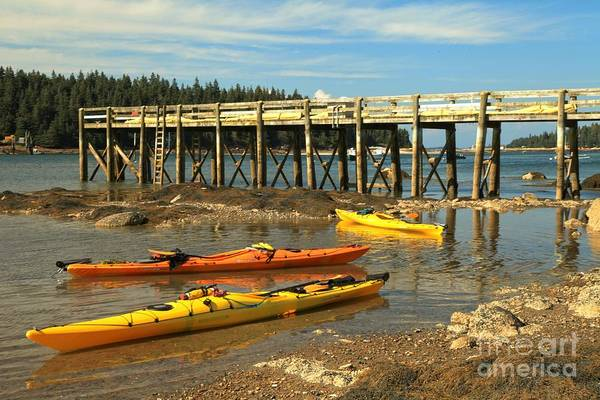 Photograph - Kayaks By The Pier by Adam Jewell