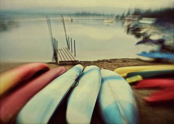Lakeshore Photograph - Kayaks On Lakeshore by Suzanne Cummings