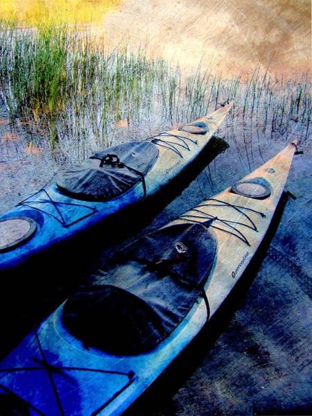 Digital Art - Kayaks Resting W Metal by Anita Burgermeister