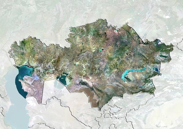 Landsat 7 Wall Art - Photograph - Kazakhstan by Planetobserver/science Photo Library
