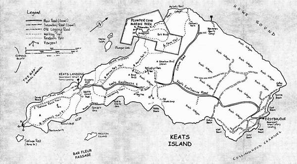 Wall Art - Painting - Keats Island Map - Canadian Island  by Sharon Cummings