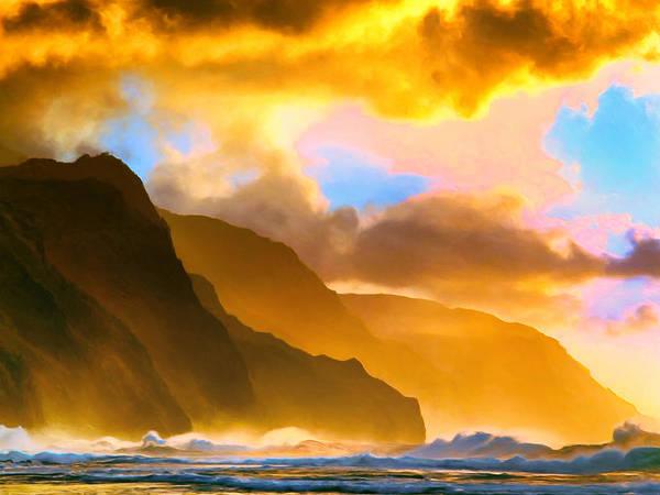 Kalalau Trail Wall Art - Painting - Ke'e Beach Sunset by Dominic Piperata