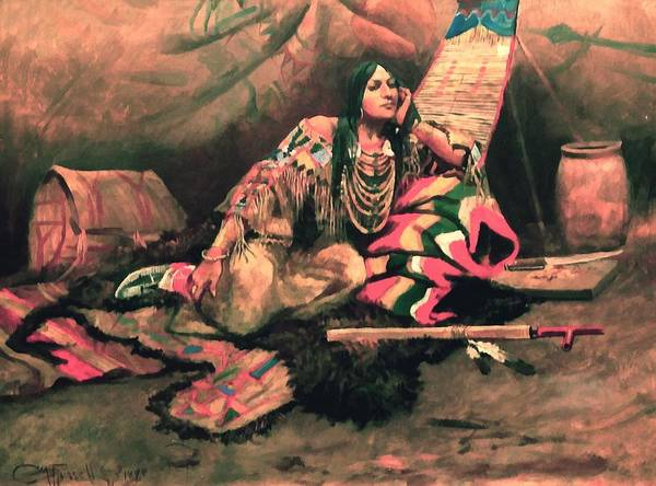 Digital Art - Keema Indian Princess by Charles Russell