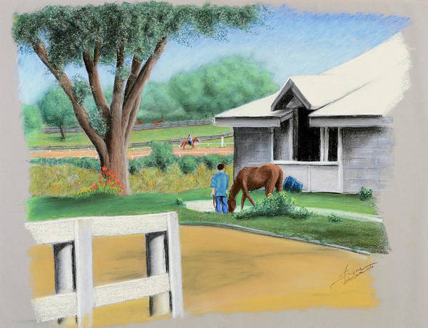 Pastel - Keenland Paddock by Sam Davis Johnson