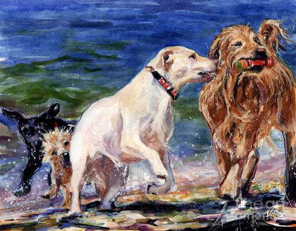 Golden Retriever Painting - Keep Away by Molly Poole