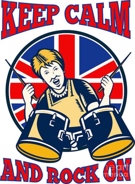 Drum Circle Wall Art - Digital Art - Keep Calm Rock On British Flag Queen Granny Drums by Aloysius Patrimonio