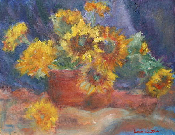 Painting - Keep On The Sunny Side - Original Contemporary Impressionist Painting - Sunflower Bouquet by Quin Sweetman