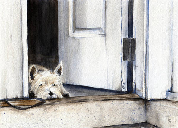 Mutt Painting - Keeping Watch by Michelle Sheppard