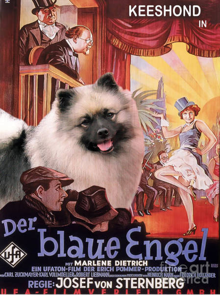 Engels Painting - Keeshond Art Canvas Print - Der Blaue Engel Movie Poster by Sandra Sij