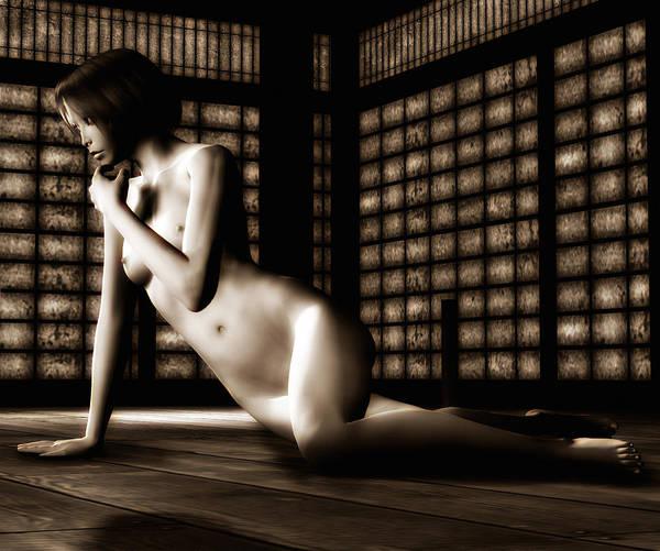 Unclothed Mixed Media - Keiko Nude No. 7 by Emma P