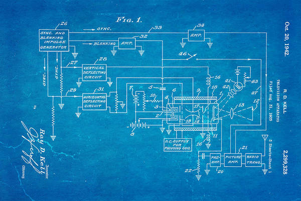 Broadcast Photograph - Kell Color Television Patent Art 1942 Blueprint by Ian Monk