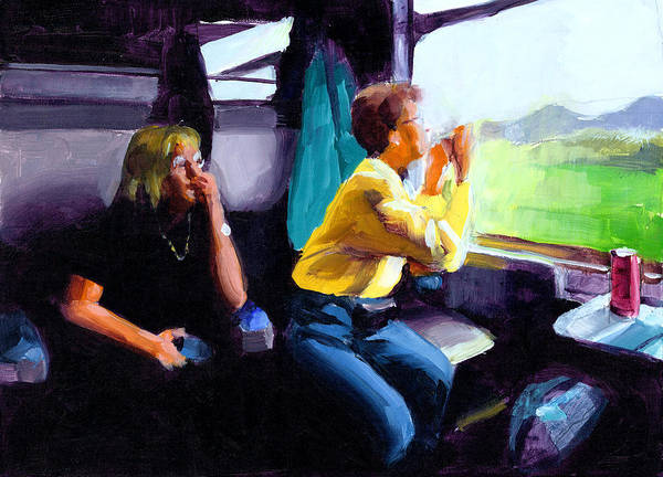 Trains Painting - Kelly And Pj In The Austrian Alps by Douglas Simonson