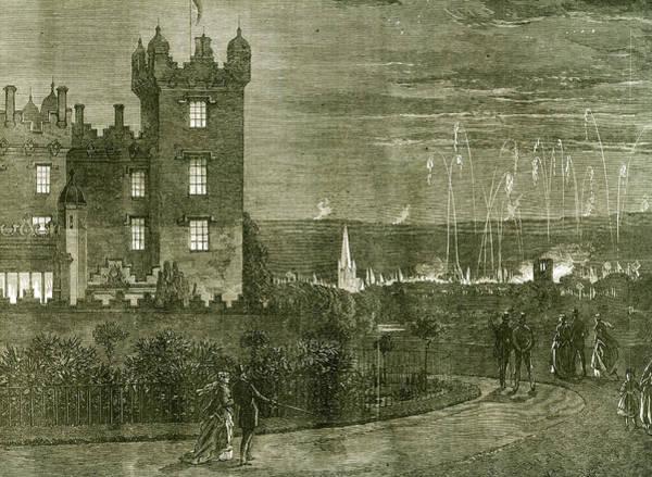 Fireworks Drawing - Kelso Castle 1867 U.k by English School