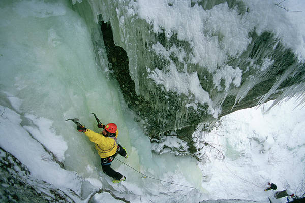 Gully Photograph - Ken Pease Ice Climbing In Grafton Notch by Nick Lambert