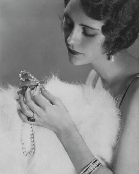 Photograph - Kendall Lee Holding A Pearl Necklace by Edward Steichen