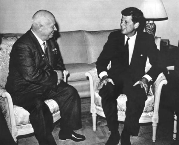 Cold War Photograph - Kennedy And Khrushchev Meet by Underwood Archives