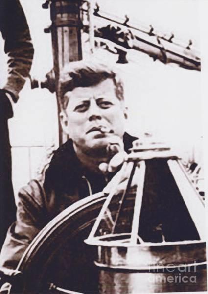 John F Kennedy Photograph - Kennedy On Sail Boat With Cigar by Baltzgar