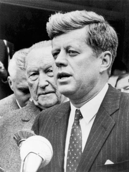 Cold War Photograph - Kennedy With Konrad Adenauer by Underwood Archives