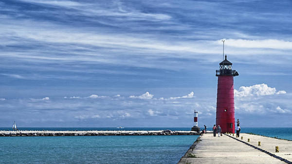 Photograph - Kenosha North Pier Lighthouse by Joan Carroll