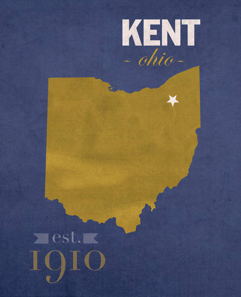 Kent Wall Art - Mixed Media - Kent State University Golden Flashes Kent Ohio College Town State Map Poster Series No 053 by Design Turnpike