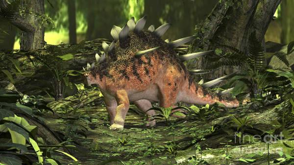 Digital Art - Kentrosaurus In A Prehistoric Forest by Kostyantyn Ivanyshen