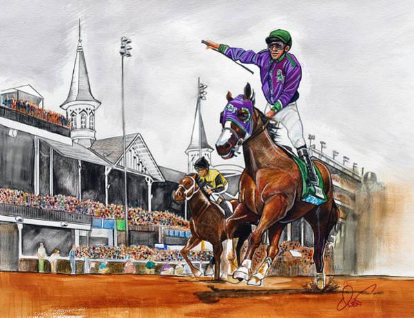 Kentucky Derby Wall Art - Painting - Kentucky Derby Winner California Chrome by Dave Olsen
