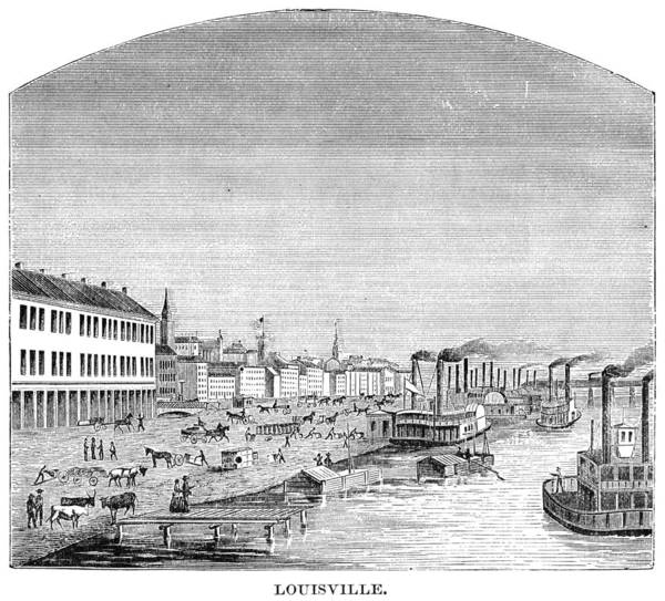 Riverboat Painting - Kentucky Louisville, 1870 by Granger