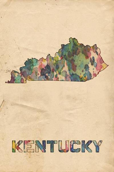 Painting - Kentucky Map Vintage Watercolor by Florian Rodarte