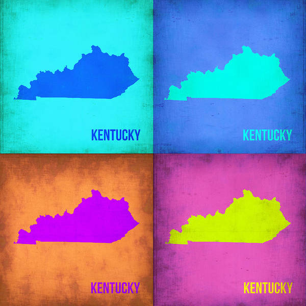 Wall Art - Painting - Kentucky Pop Art Map 1 by Naxart Studio