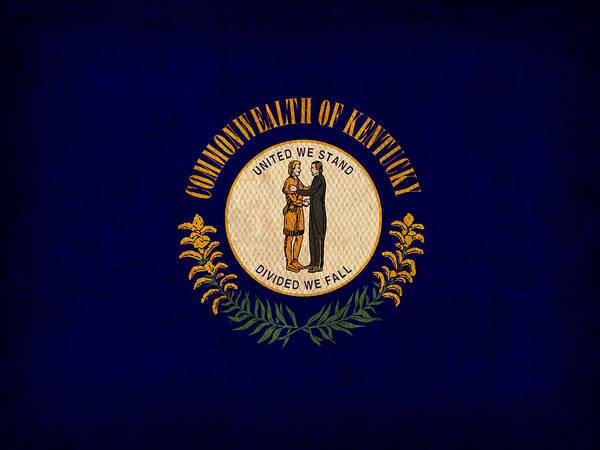 Kentucky State Flag Art On Worn Canvas Art Print