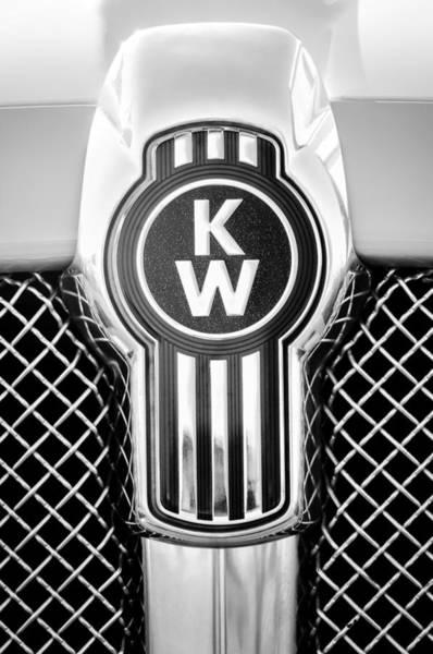 Collector Car Photograph - Kenworth Truck Emblem -1196bw by Jill Reger