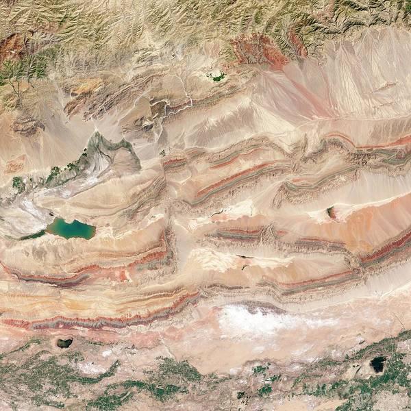 Earth Observation Wall Art - Photograph - Keping Shan Thrust Belt by Nasa Earth Observatory