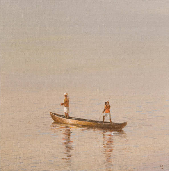 Fishing Boat Painting - Kerala Fishermen by Lincoln Seligman