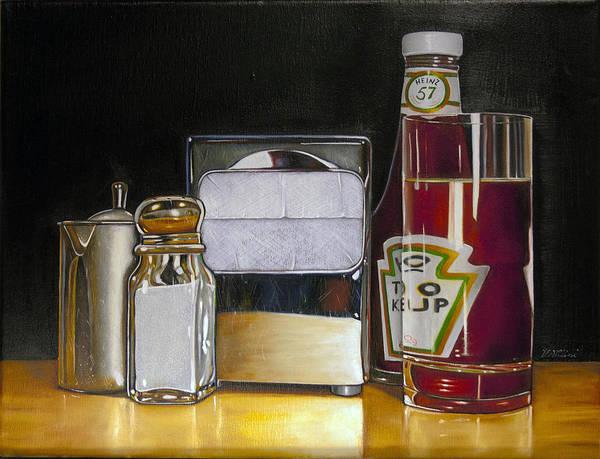 Wall Art - Painting - Ketchup And Diner Still Life by Vic Vicini