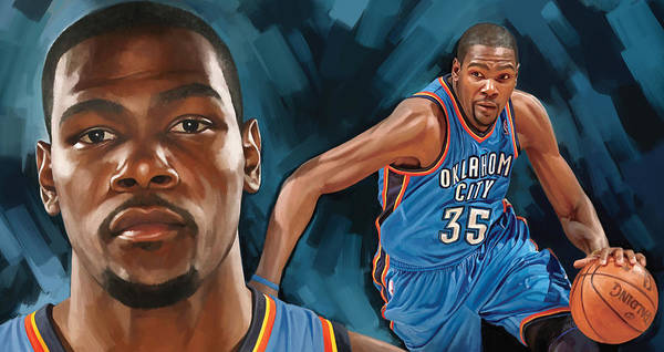 Basketball Painting - Kevin Durant Artwork by Sheraz A