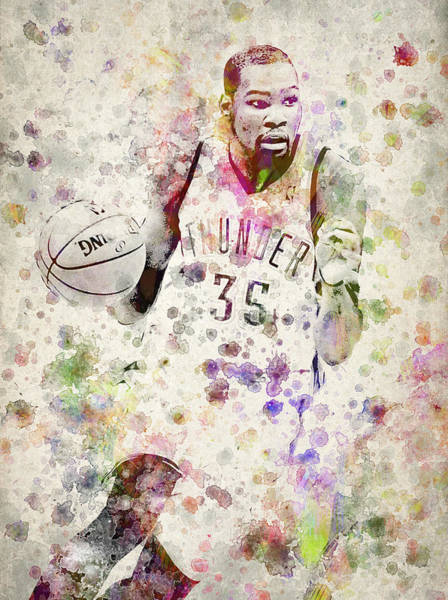 Wall Art - Digital Art - Kevin Durant In Color by Aged Pixel